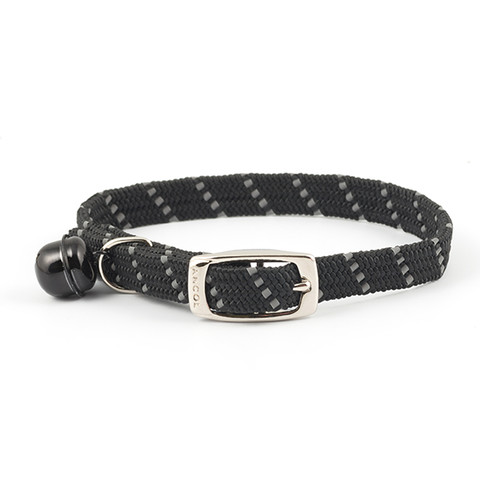 Ancol Reflective Black Softweave Cat Collar  To 3 X