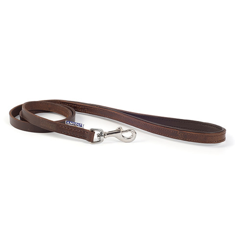 Ancol Heritage Padded Vintage Chestnut Leather Dog Lead 1m X 12mm To 1m X 22mm