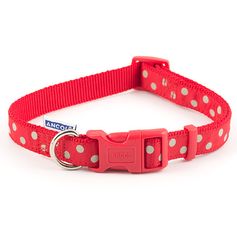 Ancol Indulgence Fashion Vintage Red Polka Dot Adjustable Dog Collar Medium To Large
