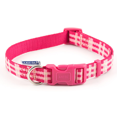 Ancol Indulgence Fashion Candy Pink Check Adjustable Dog Collar Small To Large