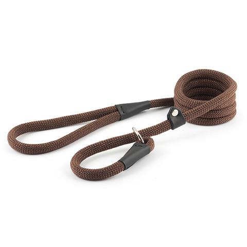 Ancol Heritage Nylon Timberwolf Brown Rope Slip Dog Lead 1.5mx12mm