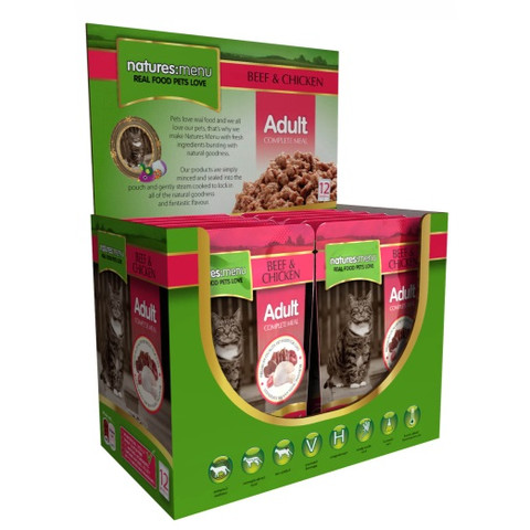 Natures Menu Adult Cat Pouch With Beef And Chicken 12 X 100g