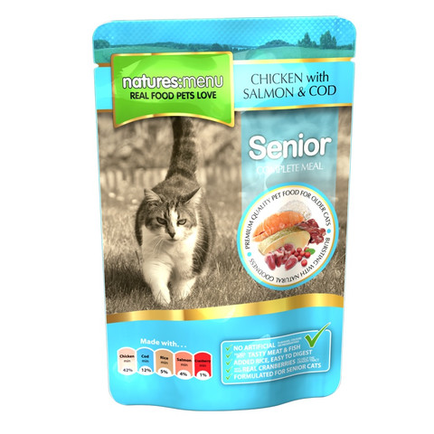 Natures Menu Senior Cat Pouch With Chicken, Salmon And Cod 12 X 100g