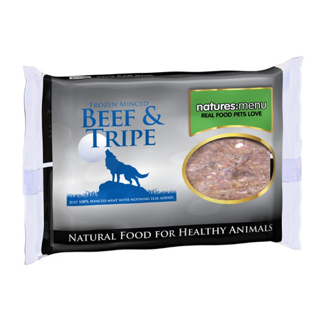 Natures Menu Minced Frozen Dog Food With Beef And Tripe 400g To 12 X 400g