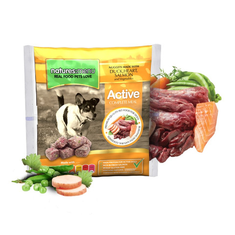 Natures Menu Frozen Active Dog Food Nuggets With Duck, Heart And Salmon 1kg