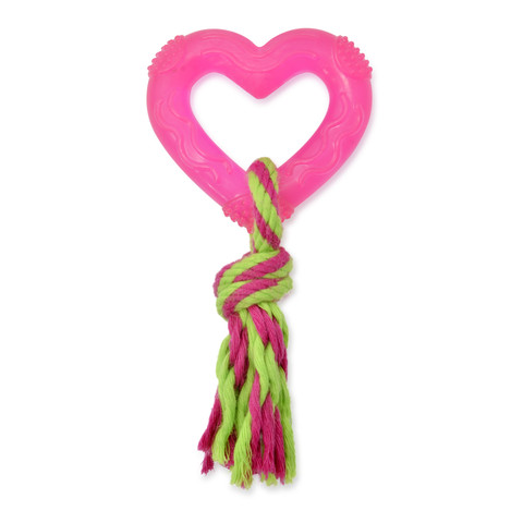 Small Bite Teethers Pink Heart Dog Toy