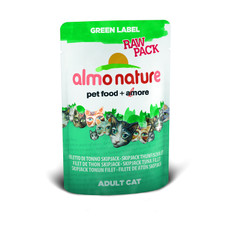 Almo Nature Green Label Raw Pack Skip Jack Tuna Fillet Pouches 24 X 55g