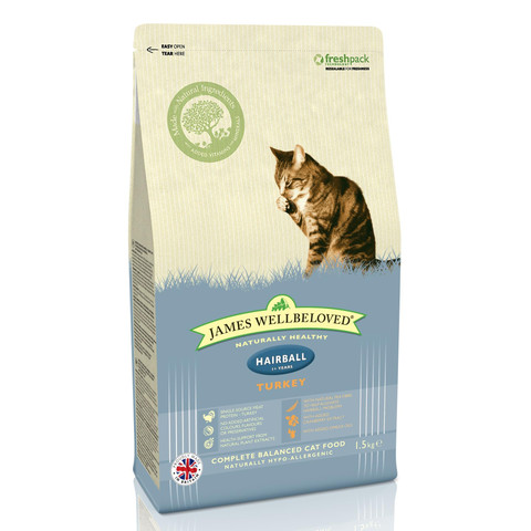 James Wellbeloved Hairball Adult Cat With Turkey 1.5kg To 4kg