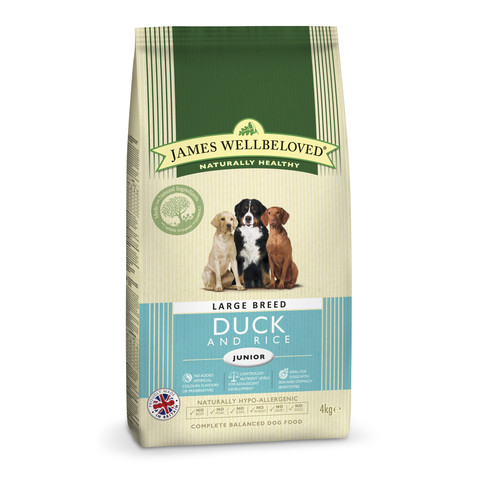 James Wellbeloved Junior Large Breed With Duck And Rice 4kg To 2 X 15kg