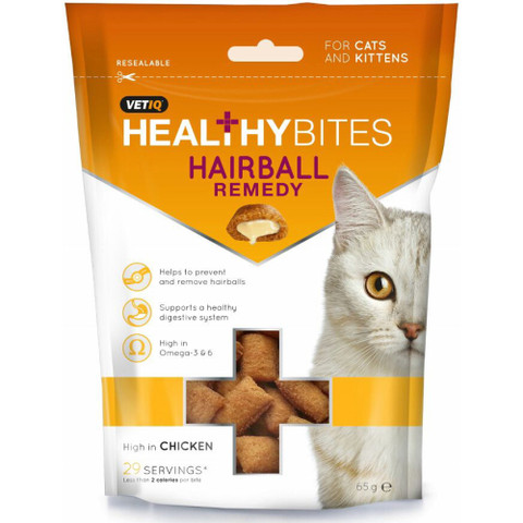 Mark And Chappell Vetiq Healthy Bites Hairball Remedy Cat Treats 65g To 8 X 65g