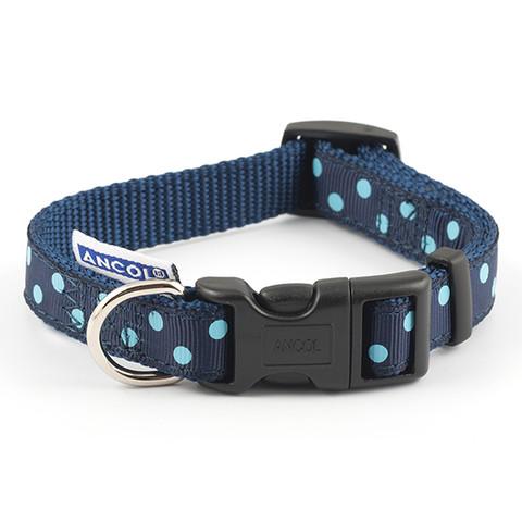 Ancol Indulgence Fashion Vintage Navy Polka Dot Adjustable Dog Collar Small To Large