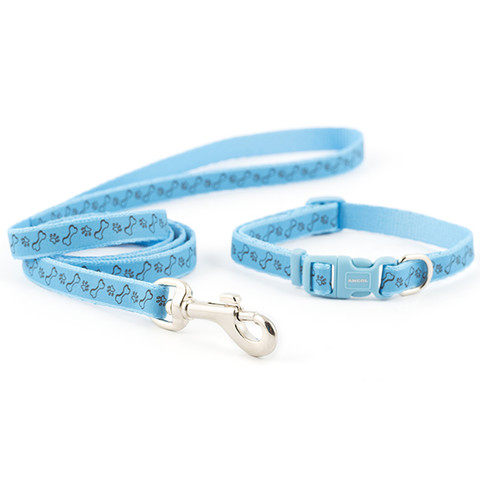 Ancol Small Bite Blue Paw 'n' Bone Adjustable Collar And Lead Set  To 3 X