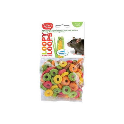 Happy Pet Critters Choice Small Animal Loopy Loops Treat 50g To 6 X 50g