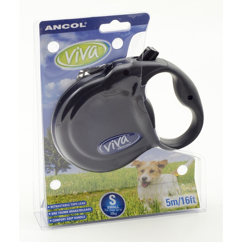Ancol Viva Black Extending 5 Metre Tape Dog Lead Small