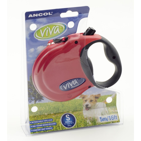 Ancol Viva Red Extending 5 Metre Tape Dog Lead Small