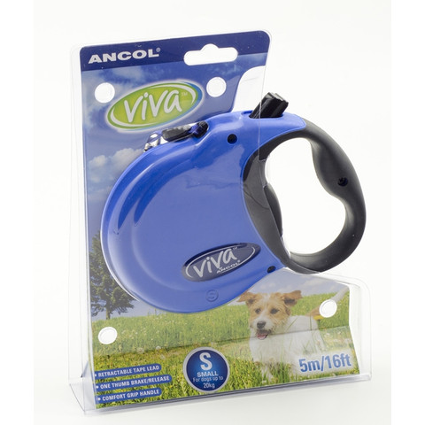 Ancol Viva Blue Extending 5 Metre Tape Dog Lead Small