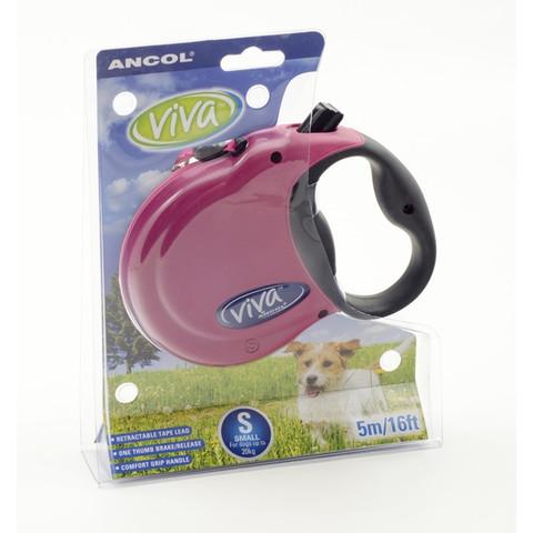 Ancol Viva Raspberry Extending 5 Metre Tape Dog Lead Small