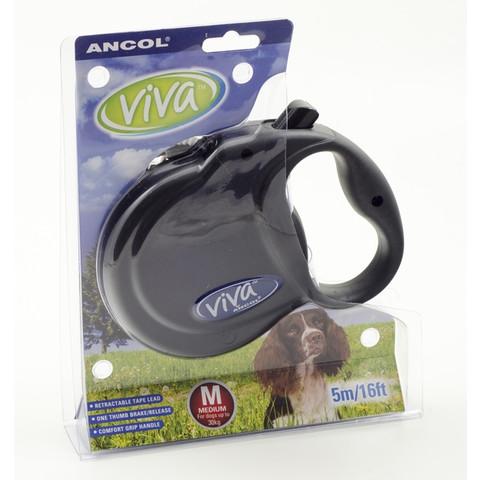 Ancol Viva Black Extending 5 Metre Tape Dog Lead Medium