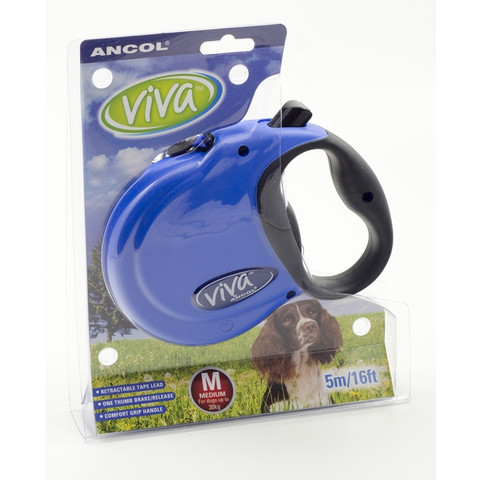 Ancol Viva Blue Extending 5 Metre Tape Dog Lead Medium