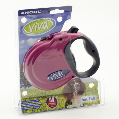 Ancol Viva Raspberry Extending 5 Metre Tape Dog Lead Medium