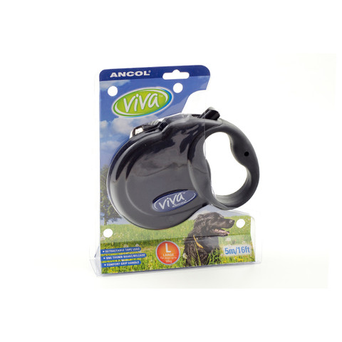 Ancol Viva Black Extending 5 Metre Tape Dog Lead Large
