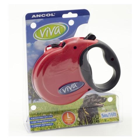 Ancol Viva Red Extending 5 Metre Tape Dog Lead Large