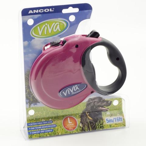 Ancol Viva Raspberry Extending 5 Metre Tape Dog Lead Large