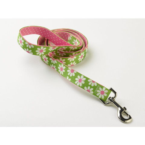 "Yellow Dog Design Uptown Floral Green Daisy Dog Lead 48""x1"""