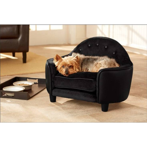 Enchanted Home Ultra Plush Black Headboard Pet Furniture Bed