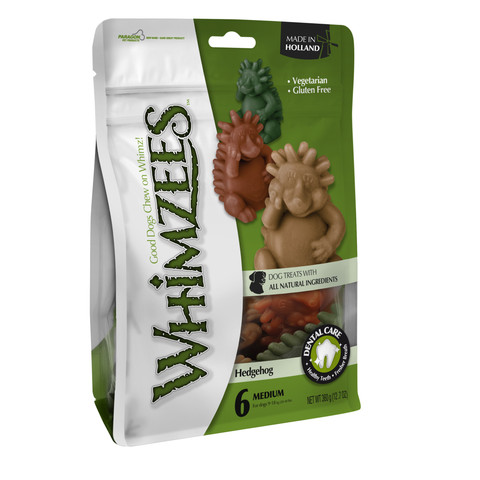 Whimzees Hedgehog 76mm Large Dental Dog Chew Treat Pack 6 Pack