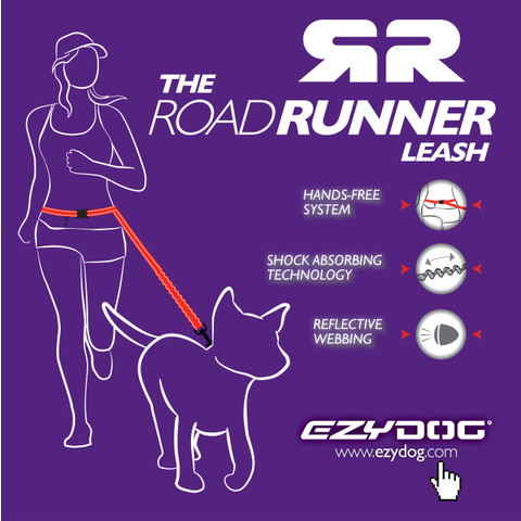 Ezy Dog Road Runner Shock Absorbing Running Dog Lead In Black