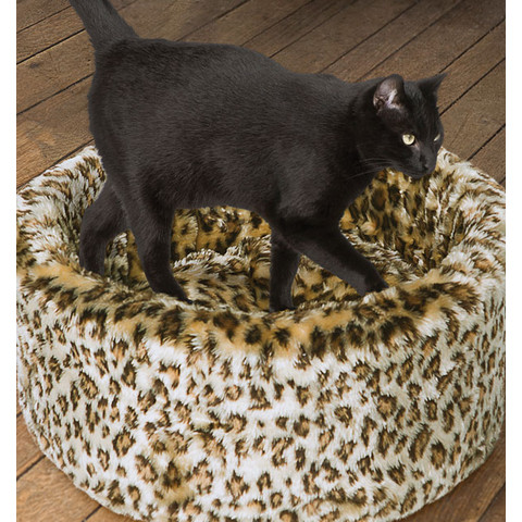 "Danish Design Cosy Cat Leopard Print Bed 16""/42cm"