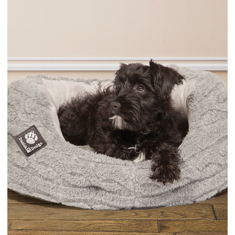 Danish Design Bobble Pewter Sherpa Fleece Slumber Dog Bed 101cm