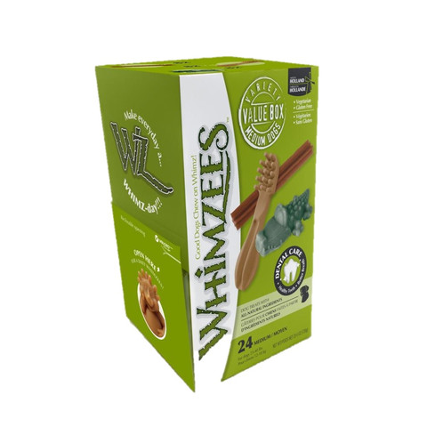 Whimzees Assorted Variety Value Pack Dental Treats For Medium Dogs 24 Pack
