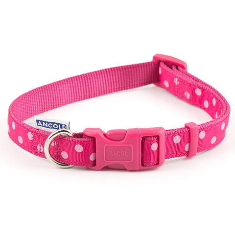 Ancol Indulgence Fashion Vintage Raspberry Pink Polka Dot Adjustable Dog Collar Medium To Large