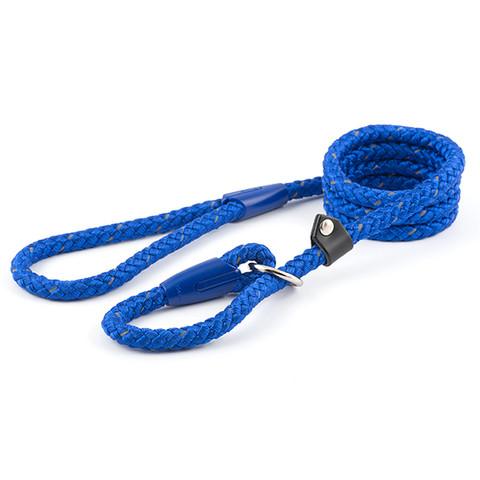 Ancol Heritage Nylon Reflective Blue Rope Slip Dog Lead 1.2cmx1.5m