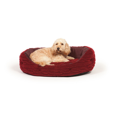 Danish Design Bobble Damson Sherpa Fleece Slumber Dog Bed 89cm