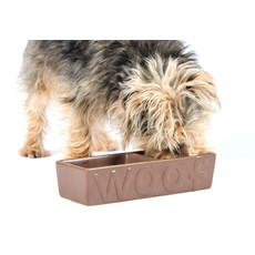 Ancol Twin Ceramic Woof Matt Chocolate Dog Bowl 25cm
