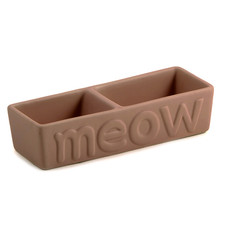Ancol Twin Ceramic Meow Matt Chocolate Cat Bowl 20cm