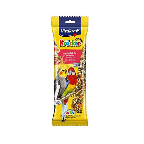 Vitakraft Kracker Parkeet And Cockatiel Stick Treats With Almonds And Fig 180g To 5 X 180g