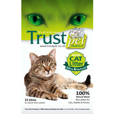 Trust Pet Products 100% Natural Wood Pellet Non Clumping Cat Litter 15 Litre