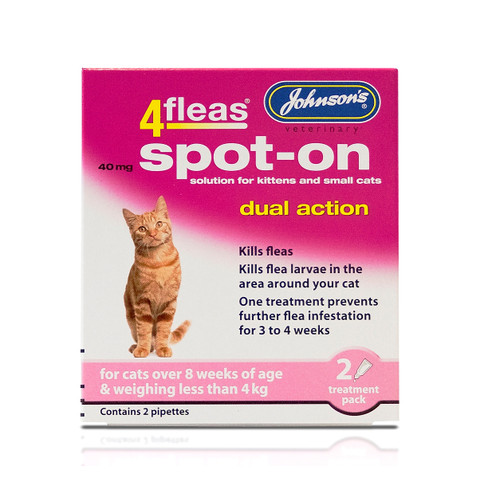 Johnsons 4fleas Dual Action Spot-on Treatment For Kittens And Small Cats 40mg 2 Pipette