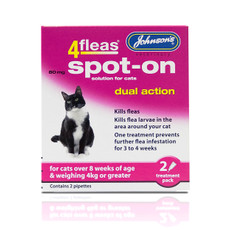 Johnsons 4fleas Dual Action Spot-on Treatment For Cats 80mg 2 Pipette