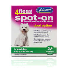 Johnsons 4fleas Dual Action Spot-on Treatment For Small Dogs 100mg 2 Pipette