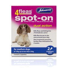 Johnsons 4fleas Dual Action Spot-on Treatment For Medium Dogs 250mg 2 Pipette