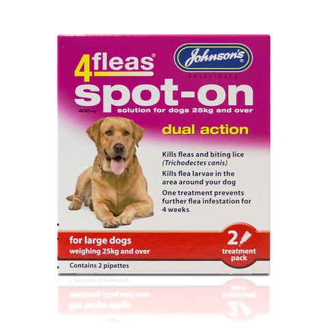 Johnsons 4fleas Dual Action Spot-on Treatment For Large Dogs 400mg 2 Pipette