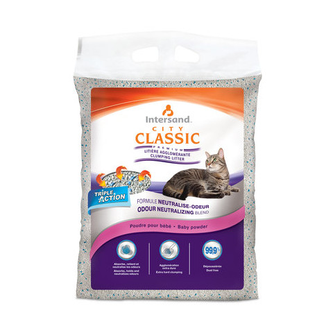 Intersand City Classic Clumping Cat Litter Baby Powder Scent 15kg