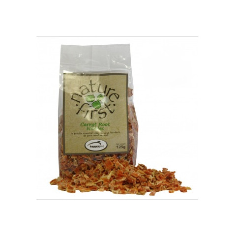 Happy Pet Nature First Carrot Root Nibbles Small Animal Treat 125g To 3 X 125g