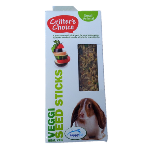 Happy Pet Critters Choice Small Animal Veggie Seed Sticks Treat 2 Pack