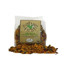 Happy Pet Nature First Small Animal Rose Petal And Marigold Mix 60g To 3 X 60g